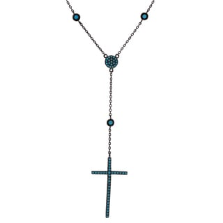 Journee Collection Sterling Silver Turquoise Cross Necklace