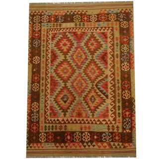 Herat Oriental Afghan Hand-woven Vegetable Dye Wool Kilim (5' x 7'2)