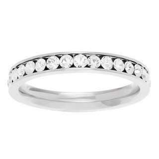 Journee Collection Titanium Cubic Zirconia Wedding Band (2 options available)