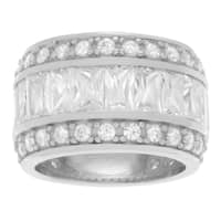 Journee Collection Sterling Silver Cubic Zirconia 3 Row Wide Band
