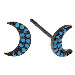 Journee Collection Sterling Silver Turquoise Half Moon Stud Earrings