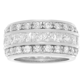 Journee Collection Sterling Silver Cubic Zirconia 3 Row Wide Wedding Band