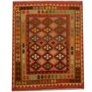 Herat Oriental Afghan Hand-woven Vegetable Dye Wool Kilim (5'2 x 6'6)