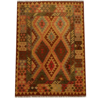 Herat Oriental Afghan Hand-woven Vegetable Dye Wool Kilim (4'9 x 6'7)