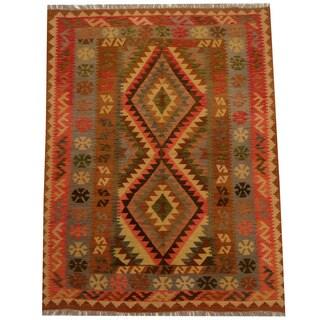 Herat Oriental Afghan Hand-woven Vegetable Dye Wool Kilim (5'2 x 6'9)