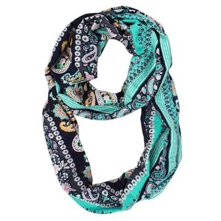 Peach Couture Women's Summer Fashion Paisley Printed Infinity Loop Scarf