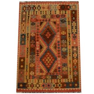Herat Oriental Afghan Hand-woven Vegetable Dye Wool Kilim (4'9 x 6'10)