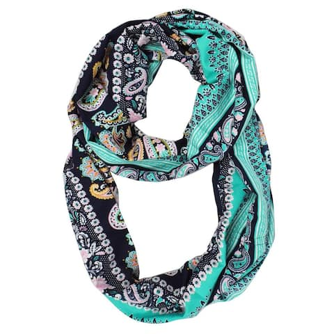 Peach Couture Women's Henna Floral Paisley Print Boho Infinity Scarf