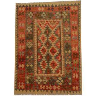 Herat Oriental Afghan Hand-woven Vegetable Dye Wool Kilim (4'10 x 6'9)