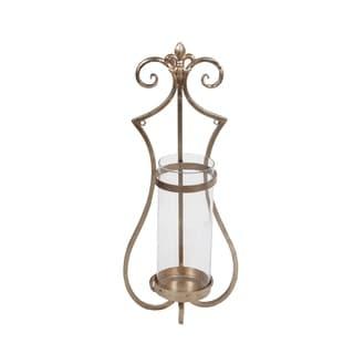 Privilege International Medium Gold Iron and Glass Wall Hurricane Lamp