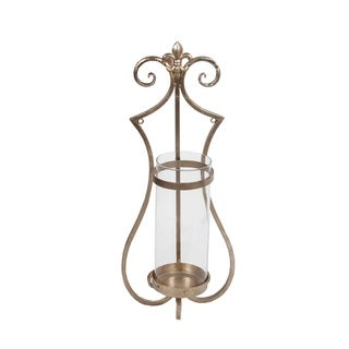 Privilege International Medium Gold Iron and Glass Wall Hurricane Lamp