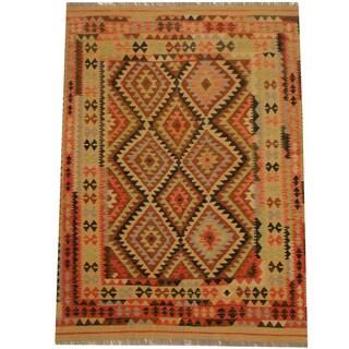 Herat Oriental Afghan Hand-woven Vegetable Dye Wool Kilim (5'1 x 6'10)
