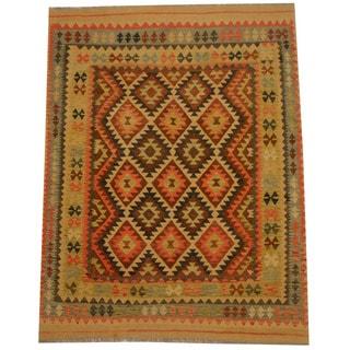 Herat Oriental Afghan Hand-woven Vegetable Dye Wool Kilim (5'3 x 6'9)