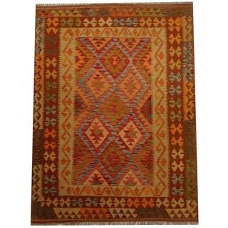 Herat Oriental Afghan Hand-woven Vegetable Dye Wool Kilim (5'10 x 6'7)