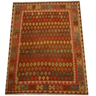 Herat Oriental Afghan Hand-woven Vegetable Dye Wool Kilim (5'3 x 6'9)