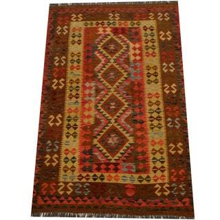 Herat Oriental Afghan Hand-woven Vegetable Dye Wool Kilim (4'8 x 7'1)