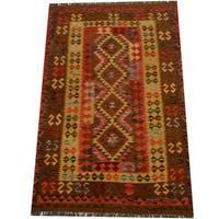 Herat Oriental Afghan Hand-woven Vegetable Dye Wool Kilim (4'8 x 7'1) - 4'8 x 7'1