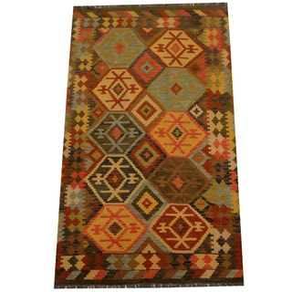 Herat Oriental Afghan Hand-woven Vegetable Dye Wool Kilim (4' x 6'9)