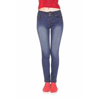Juniors' Blue Cotton-blended Denim Butt-lifter Jean