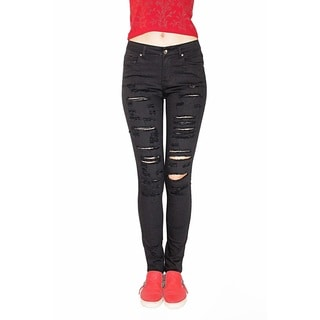 Juniors' Black Denim Spandex Ripped Skinny Jeans