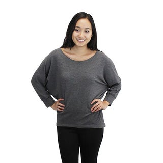 Relished Women's Grey Rayon/Spandex Dolman Top