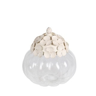 Privilege International White Ceramic Decorative Jar