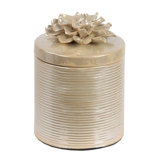 Privilege Off-white Ceramic Small Jar With Flower Lid