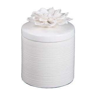 Privilege International White Ceramic Large Jar with Flower Lid