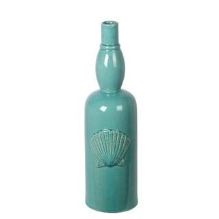 Privilege Turquoise Ceramic Seashell Vase