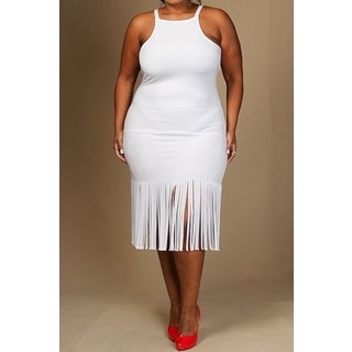 A Plus Style Apparel White Polyester Plus-size Sleeveless Fringe Midi Dress