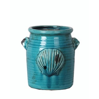 Privilege Turquoise Ceramic Large Shell Vase