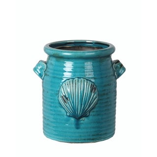 Privilege Turquoise Ceramic Medium Shell Vase