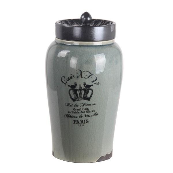 Privilege International Green Ceramic Louis XIV Large Jar with Lid