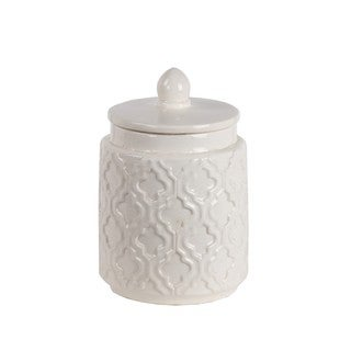 Privilege International White Ceramic Small Jar With Lid