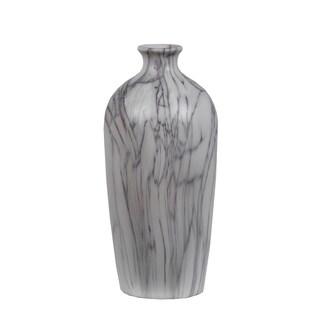 Privilege International Grey/White Marble 12-inch Vase