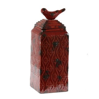 Privilege Medium Red Ceramic Bird-themed Vase