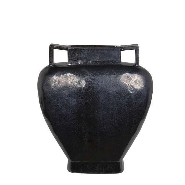 Privilege Black Ceramic Large Vase by Privilege International