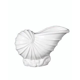 Privilege White Ceramic Large Shell Vase