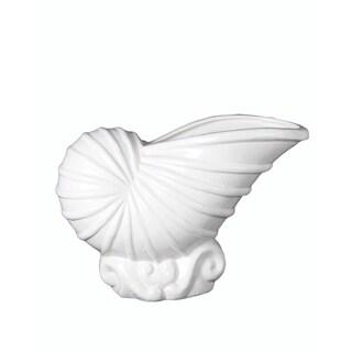 Privilege White Ceramic Small Shell Vase