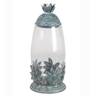 Privilege International Iron Metal and Glass Large Star and Leaf Jar