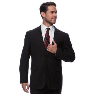 Prontomoda Europa Men's Black Herringbone Wool Suit 42R/ 36W Size (As Is Item)