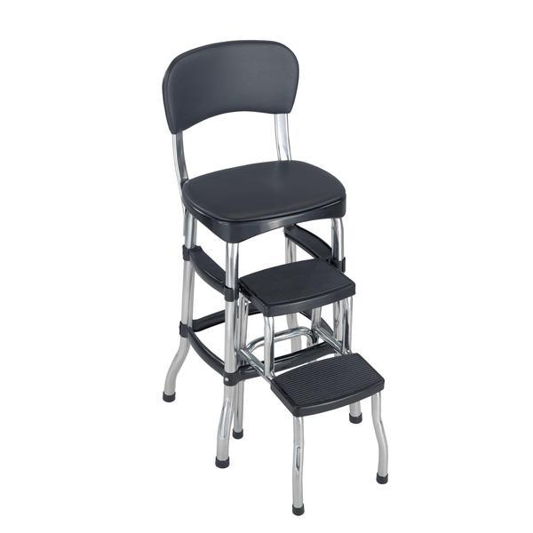 Shop Cosco Black Retro Counter Chair Step Stool Free