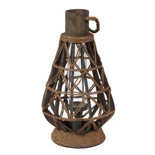 Privilege International Brown Iron Rope Large Candle Lantern