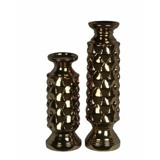 Privilege International Gold Metallic Candleholders (Set of 2)