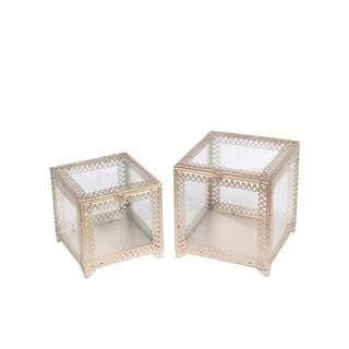 Privilege Champagne Metal and Glass 2-piece Square Boxes