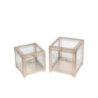 Privilege Champagne Metal and Glass 2-piece Square Boxes - 11 x 11