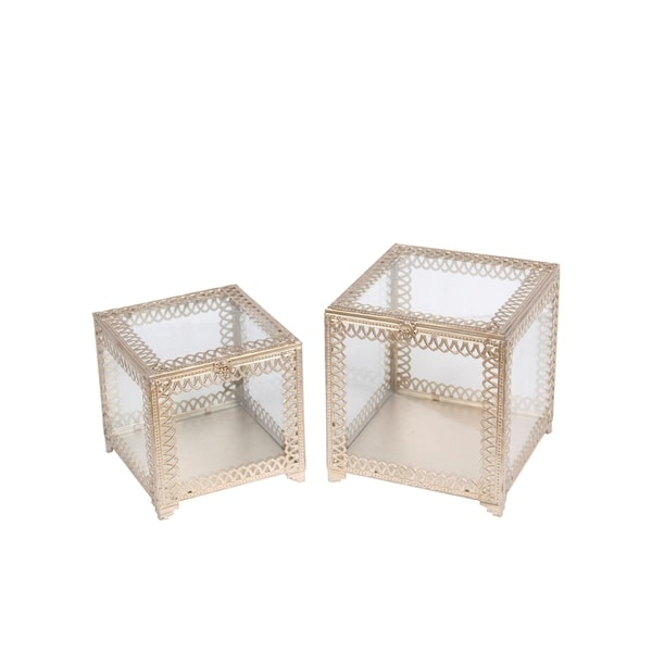 Privilege Champagne Metal and Glass 2-piece Square Boxes - 11 x 11