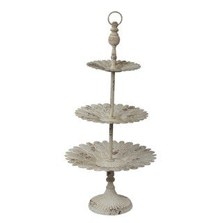 Privilege International Antique-style White Iron 3-tier Plate Stand