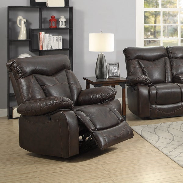 Shop Coaster Company Brown Faux Leather Power Recline Glider Recliner Free Shipping