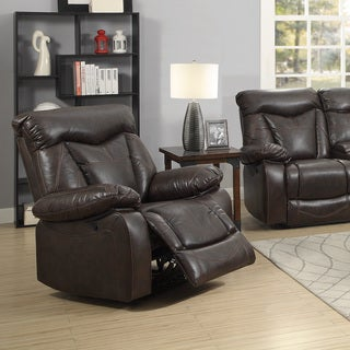 Brown Faux Leather Power Recline Glider Recliner